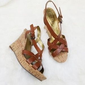 Guess|Brown Leather & Cork Wedge Heel Sandals